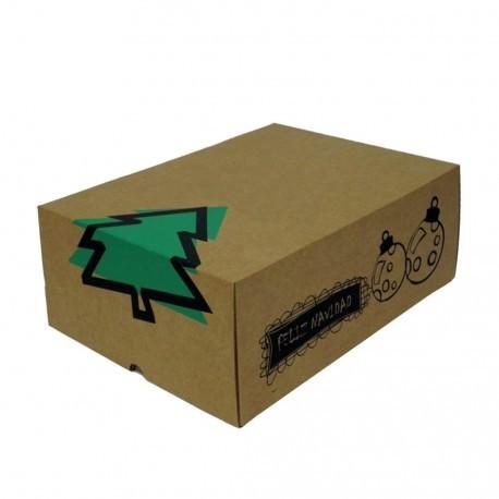 Cajas de cart n felicidades 30x22x12 decorada con motivos - Cajas con motivos navidenos ...